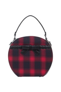 RED TARTAN HAT BOX BAG