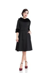 TABITHA BLACK FAUX FUR COLLAR DRESS