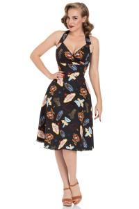 LUCY - VEGAS PRINT BLACK FLARED DRESS